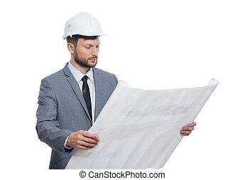 bouwschets, mannelijke , architect, middelbare leeftijd