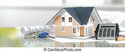 bouwschets, miniatuur, rekenmachine, sleutels, thuis