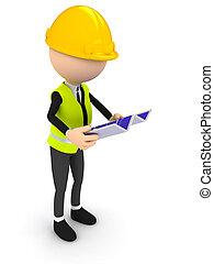 bouwschets, op, witte achtergrond, ingenieur