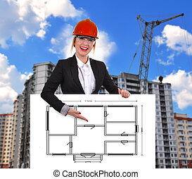 bouwschets, plakkaat, tekening