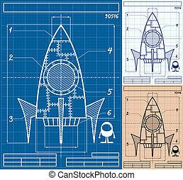 bouwschets, spotprent, raket