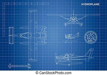 bouwschets, techniek, plane., hydroplane