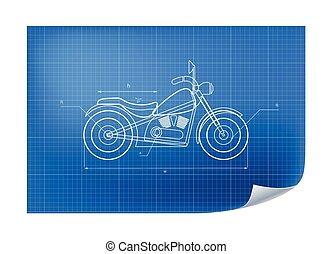 bouwschets, technisch, motorfiets, illustratie, tekening