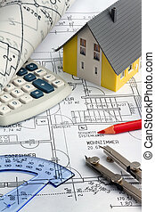 bouwschets, van, een, house., bouwsector