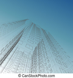 bouwschets, wolkenkrabber