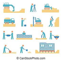 bouwsector, aannemer, set, industrie, iconen