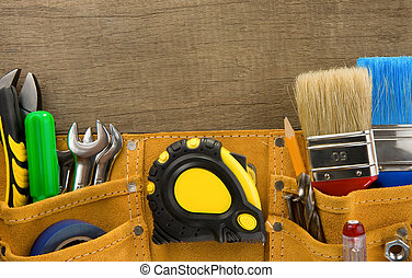bouwsector, achtergrond, houten, gereedschap, riem