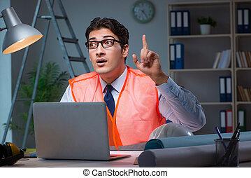bouwsector, architect, doorwerken, werkjes, laat, op de avond