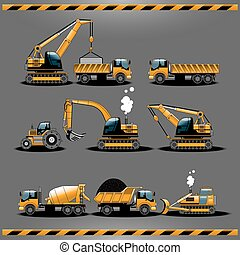 bouwsector, auto's, vector, pictogram, set