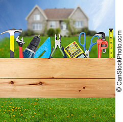 bouwsector, collage., gereedschap