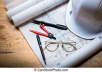 bouwsector, concept, beeld, helm, gerolde, blauwdruken, op, houten raad, in, retro stijl