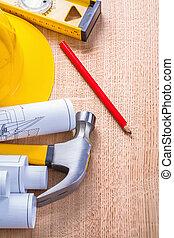bouwsector, concept, gele, hardhat, blauwdruken, hamer,...