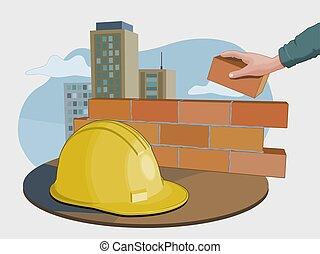 bouwsector, concept, industrie
