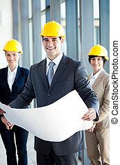 bouwsector, directeur, vasthouden, blauwe afdruk