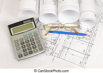 bouwsector, drawings., werkplaats, architect