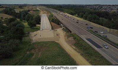 bouwsector, duitser, aanzicht, luchtopnames, autobahn, werken