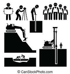 bouwsector, earthwork, arbeider, iconen