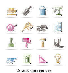 bouwsector, en, gebouw, iconen