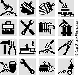 bouwsector, en, herstelling, iconen, set