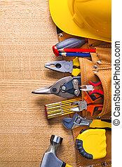 bouwsector, gereedschap, in, toolbelt, hamer, tapeline,...