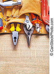 bouwsector, gereedschap, in, toolbelt, nippers, buigtang,...