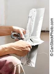 bouwsector, gereedschap, mastiek, handen