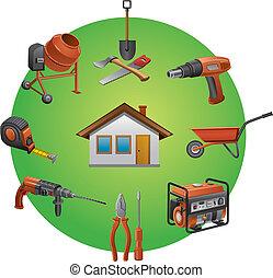 bouwsector, gereedschap, pictogram