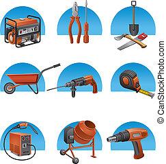 bouwsector, gereedschap, pictogram, set