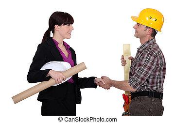 bouwsector, hand-schudt