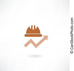 bouwsector, helm, met, de, schema, pictogram