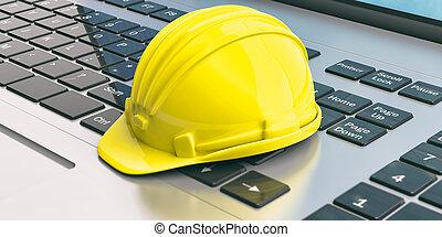 bouwsector, helm, op, een, laptop., 3d, illustratie