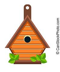 bouwsector, het nestelen doos, vrijstaand, birdhouse, of,...