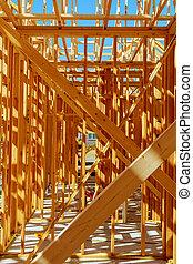 bouwsector, hout, nieuw, onder, woning, het ontwerpen
