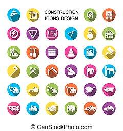 bouwsector, iconen, set