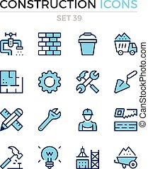 bouwsector, icons., vector, lijn, iconen, set., premie, quality., eenvoudig, dune lijn, design., moderne, schets, symbolen, pictograms.