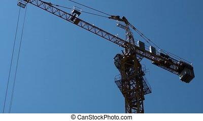 bouwsector, industry., rijzen kraan uit, werkende , tegen,...