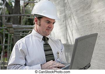 bouwsector, ingenieur, met, draagbare computer