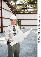 bouwsector, inspecteur, met, blauwdruken
