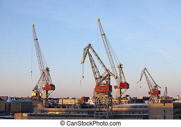 bouwsector, kranen, werken, in, de, porto, van, helsinki, in, winter