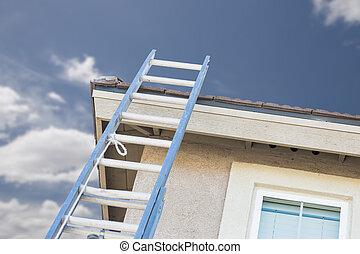 bouwsector, ladder, leun, woning
