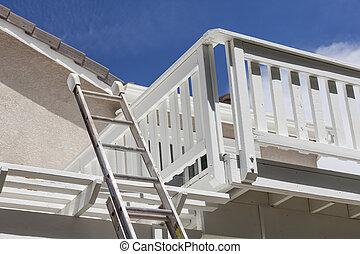 bouwsector, ladder, leunend, wit huis, dek