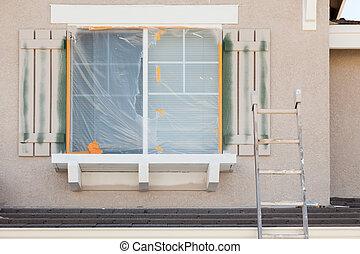 bouwsector, ladder, omhoog leunend tegen, een, woning, wezen, geverfde