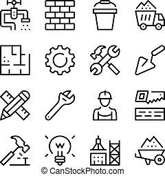 bouwsector, lijn, iconen, set., moderne, grafisch ontwerp, concepten, eenvoudig, schets, communie, collection., vector, lijn, iconen