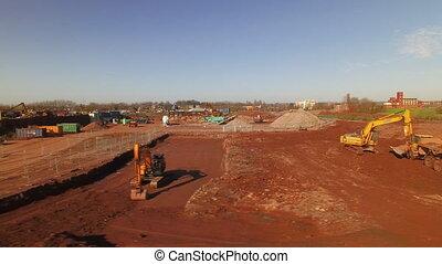 bouwsector, luchtopnames, bouwterrein, aanzicht