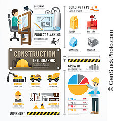 bouwsector, mal, ontwerp, infographic, ., concept, vector, illust