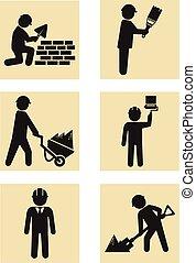 bouwsector, man, pictogram, pictogram