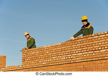 bouwsector, metselaar, arbeider, bricklayers