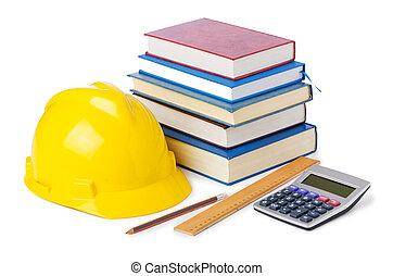 bouwsector, opleiding, concept, op wit