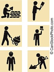 bouwsector, pictogram, man, pictogram
