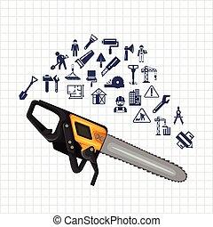 bouwsector, pictogram, set